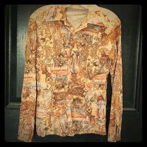 Groovy 70s silky vintage niknik style shirt blouse